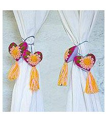 wool and cotton curtain tiebacks, 'fantastic flowers' (set of 4) (mexico)