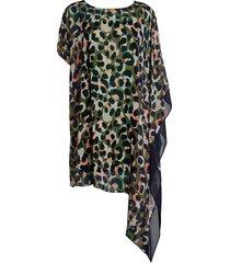 dkny women's asymmetrical kaftan coverup - olive - size s/m