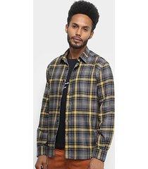 camisa ellus wire wool manga longa xadrez masculina
