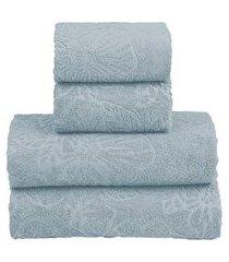 jogo toalha banho realce top sultan 4 peças prata