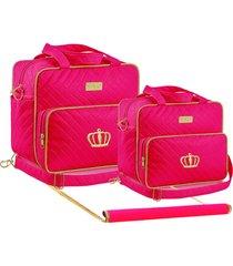 kit bolsa maternidade 03 peças pink plike baby tr-dr2