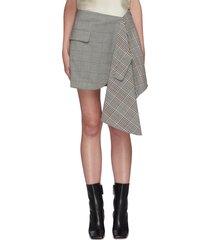 check plaid cascade asymmetric mini skirt