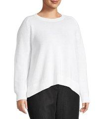 eileen fisher women's plus crewneck cotton-blend sweater - marigold - size 1x (14-16)