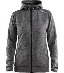 craft vest women leisure full zip hood dark grey melange