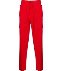 comme des garçons shirt straight-leg cargo trousers - red