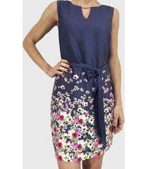 vestido estampado flores azul liola