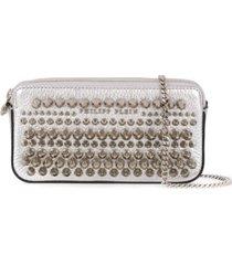 philipp plein bolsa tiracolo mini com aplicação de tachas - prateado