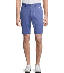 brooks brothers men's flamingo & palm tree embroidery shorts - blue - size 34