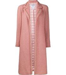 chanel pre-owned 1990s bouclé long-line coat - pink