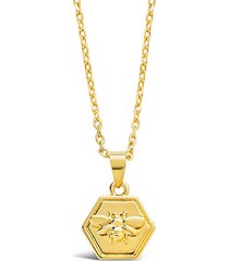 14k gold vermeil engraved bee hexagon pendant necklace