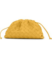 bottega veneta small the pouch leather clutch - yellow