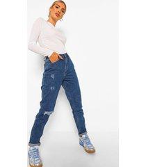 mid wash mom jeans met hoge taille