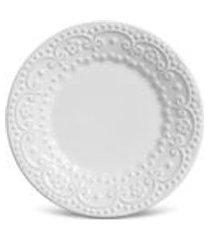 conjunto c/ 6 pratos de sobremesa esparta branco 20,5 cm