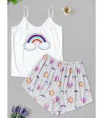 plus size rainbow print cami pajama shorts set