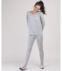pijama feminino manga longa cinza mescla