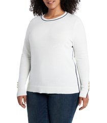 plus size women's court & rowe contrast tipped crewneck pullover