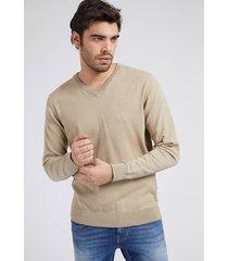 bawełniany sweter ze stretchem z dekoltem v