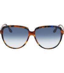 victoria beckham 60mm gradient round sunglasses in chocolate smoke/blue gradient at nordstrom
