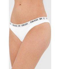 calcinha colcci underwear biquãni lettering branca - branco - feminino - poliamida - dafiti