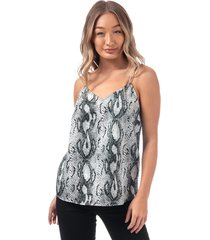 womens snake print cami top