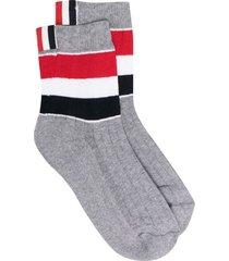 thom browne wide stripe athletic ankle socks - grey