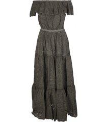 parosh green off-the-shoulder flared dress
