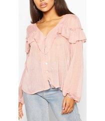 metallic dobby ruffle blouse, blush