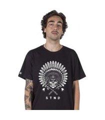 camiseta   stoned indian skull preta