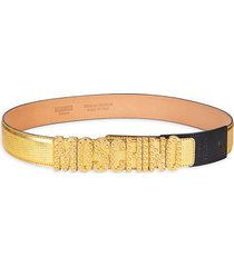 moschino couture! women's studded logo leather belt - black gold - size 85 (m)