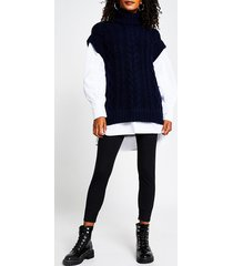 river island womens navy oversized cable knit tunic top