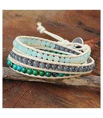 amazonite wrap bracelet, 'beautiful day' (thailand)