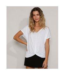 blusa feminina básica com nó manga curta decote v branca