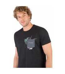 t-shirt com bolso estampado preta preta/gg
