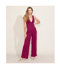 macacão feminino pantalona alça larga roxo