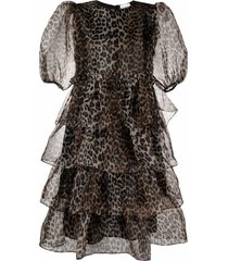 ganni puff-sleeves tiered dress