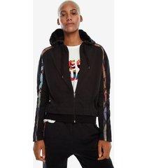 sweatshirt with zipper and hood - black - xl