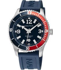 nautica men's analog blue and red silicone strap watch 44 mm