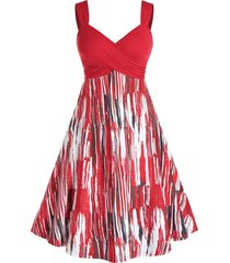 plus size crossover backless a line print dress