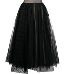 brognano tulle layered midi skirt - black