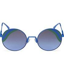 fendi women's 53mm metal round sunglasses - blue