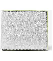 mk portafoglio a libro greyson con logo e tasca per monete - wht/neon yel - michael kors