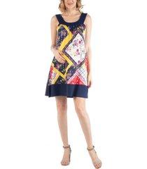24seven comfort apparel multiprint patchwork sleeveless maternity dress