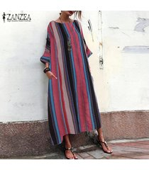 zanzea mujeres de manga larga a rayas camisa de vestir kaftan tops vestido maxi largo de gran tamaño -negro
