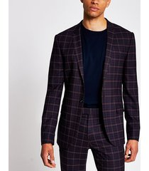 river island mens dark red tartan skinny stretch suit jacket
