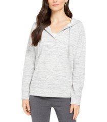 style & co heathered split-neck hoodie, created for macy's
