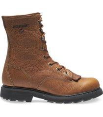 """wolverine men's herrin 8"""" kiltie lacer work boot brown, size 12 medium width"""