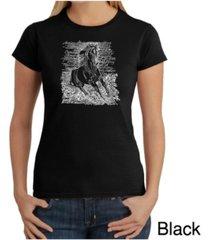 women's word art t-shirt - popular horse breeds