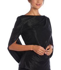 r & m richards plus drape-back metallic top
