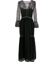 alberta ferretti sheer patterned evening dress - black