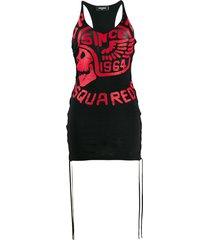 dsquared2 jersey logo tassel dress - black